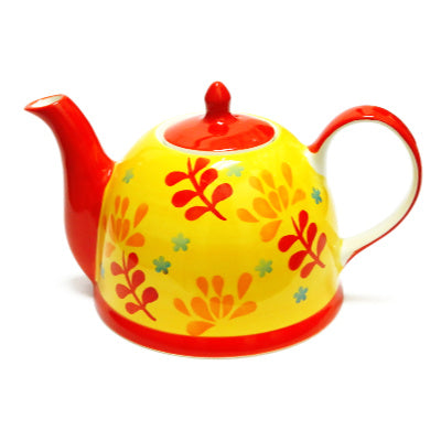 teapot yellow with leaves - Tea Desire