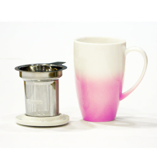 horizon mug pink with infuser - Tea Desire