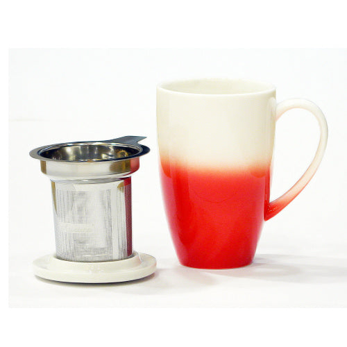 horizon mug red with infuser - Tea Desire