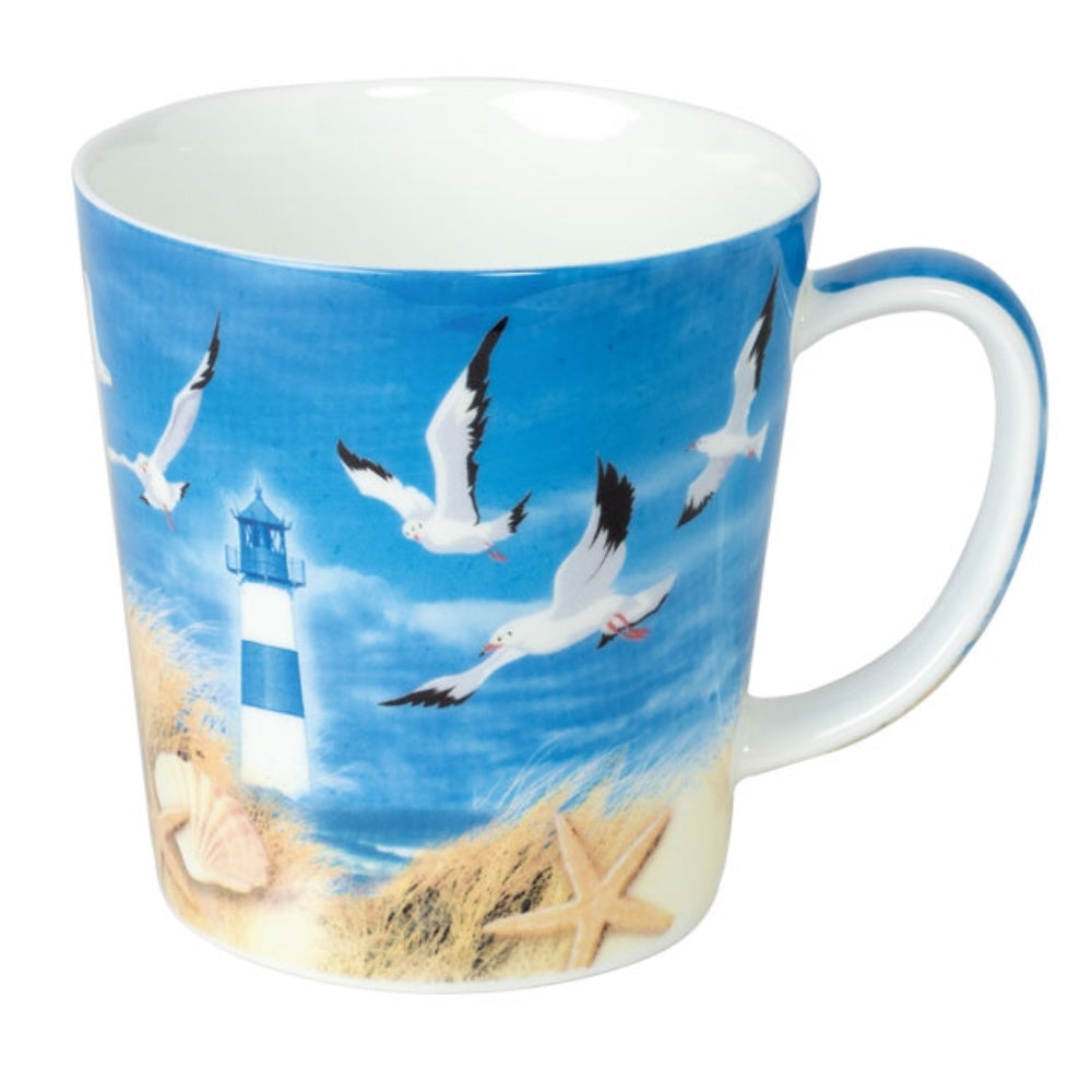 mug beach design with seagulls - Tea Desire