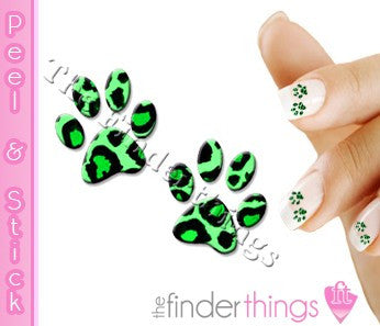 Green Leopard Paw Print Nail Art Decal Sticker Set - The FinderThings