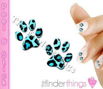 Blue Leopard Paw Print Nail Art Decal Sticker Set - The FinderThings