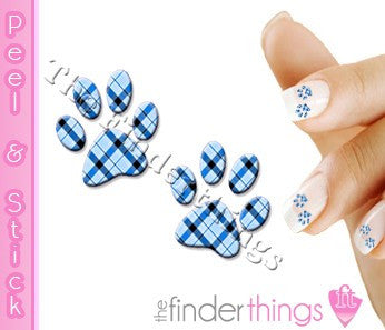 Blue Plaid Paw Print Nail Art Decal Sticker Set - The FinderThings