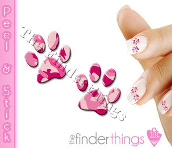 Pink Camouflage Camo Paw Print Nail Art Decal Sticker Set - The FinderThings