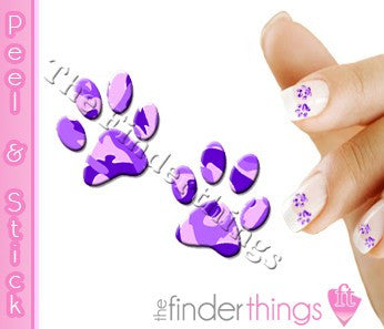 Purple Camouflage Camo Paw Print Nail Art Decal Sticker Set - The FinderThings