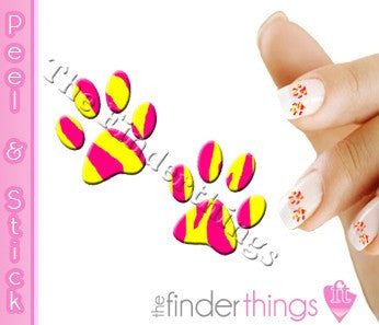 Pink and Yellow Tiger Stripe Paw Print Nail Art Decal Sticker Set