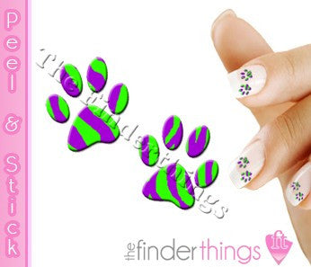 Purple and Green Tiger Stripe Paw Print Nail Art Decal Sticker Set - The FinderThings