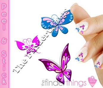 Three Butterfly Mix Nail Art Decal Sticker Set