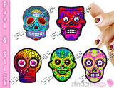 Sugar Skulls with Color Nail Art Decal Sticker Set - The FinderThings