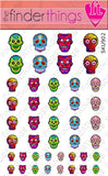 Sugar Skulls with Color Nail Art Decal Sticker Set