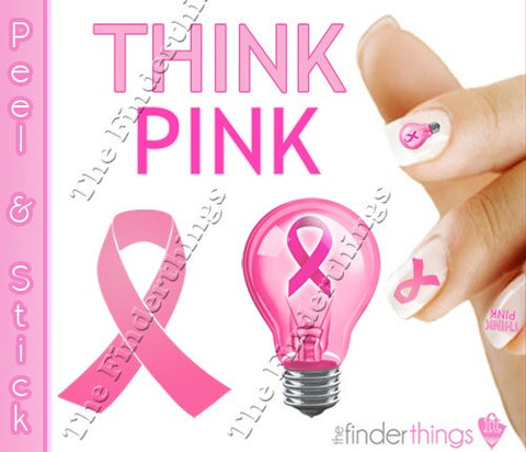 Breast Cancer Awareness Ribbon Think Pink Mix Support Nail Art Decal Sticker Set - The FinderThings