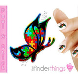Autism Awareness Ribbon Butterfly Nail Art Decal Sticker Set