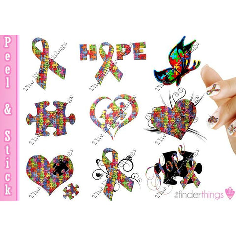 Autism Awareness Ribbon Mix Nail Art Decal Sticker Set
