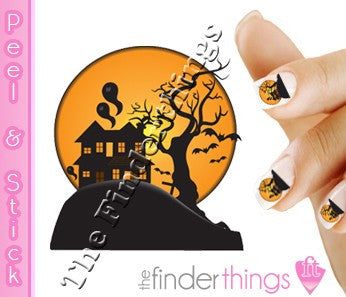 Halloween Haunted House Nail Art Decal Sticker Set - The FinderThings