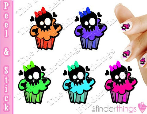 Sugar Skull Cupcake Nail Art Decal Sticker Set