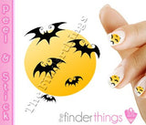Halloween Bats and Full Moon Nail Art Decal Sticker Set - The FinderThings