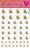 Rasta Pot Leaf Weed Nail Art Decal Sticker Set - The FinderThings
