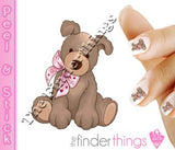 Puppy Dog and Pink Bow Nail Art Decal Sticker Set