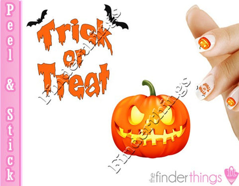 Halloween Trick or Treat Pumpkin Nail Art Decal Sticker Set