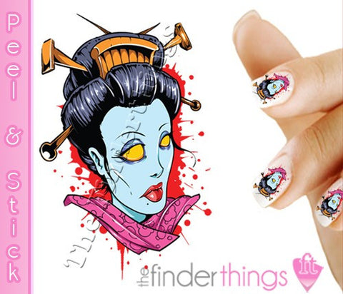 Halloween Geisha Nail Art Decal Sticker Set - The FinderThings