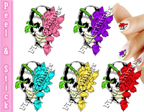 Skull and Rose Flower Nail Art Decal Sticker Set