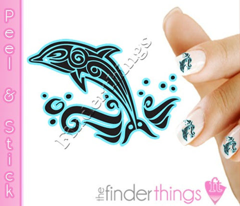 Tribal Dolphin Nail Art Decal Sticker Set