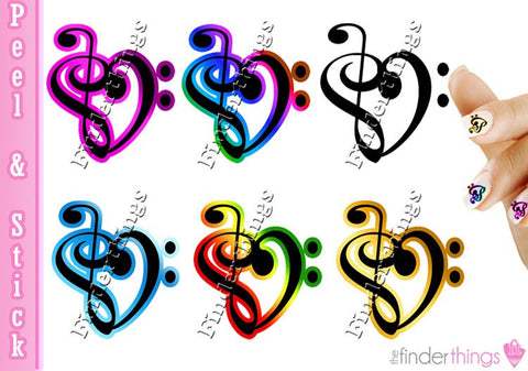 Music Note Heart Nail Art Decal Sticker Set - The FinderThings