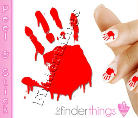 Haloween Bloody Hand Print Nail Art Decal Sticker Set - The FinderThings