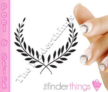 Black Laurel Wreath Nail Art Decal Sticker Set - The FinderThings