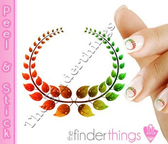 Colorful Laurel Wreath Nail Art Decal Sticker Set - The FinderThings