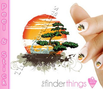 Bonsai Tree and Sunset Nail Art Decal Sticker Set - The FinderThings