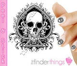 Skull and Spade Swirl Nail Art Decal Sticker Set - The FinderThings