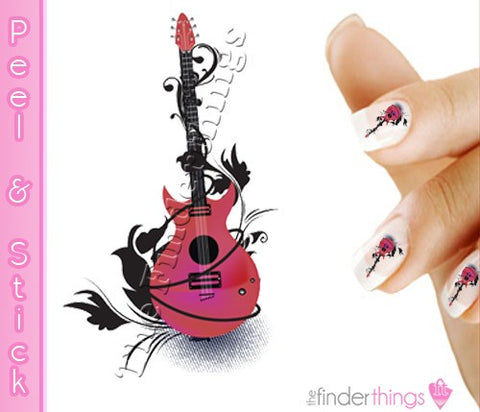 Pink Guitar Flourish Nail Art Decal Sticker Set