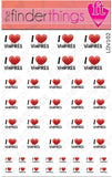 I Love Vampires Art Decal Sticker Set - The FinderThings