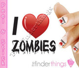 I Love Zombies Art Decal Sticker Set - The FinderThings