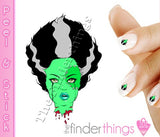 Bride of Frankenstein Nail Art Decal Sticker Set