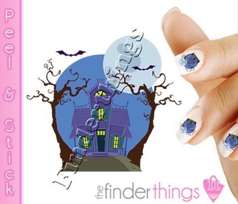 Halloween Spooky Haunted House Nail Art Decal Sticker Set