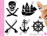 Jolly Roger Pirate Ship and Anchor Nail Art Decal Sticker Set - The FinderThings