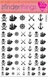 Jolly Roger Pirate Ship and Anchor Nail Art Decal Sticker Set
