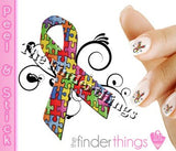 Autism Awareness Ribbon Swirl Nail Art Decal Sticker Set - The FinderThings
