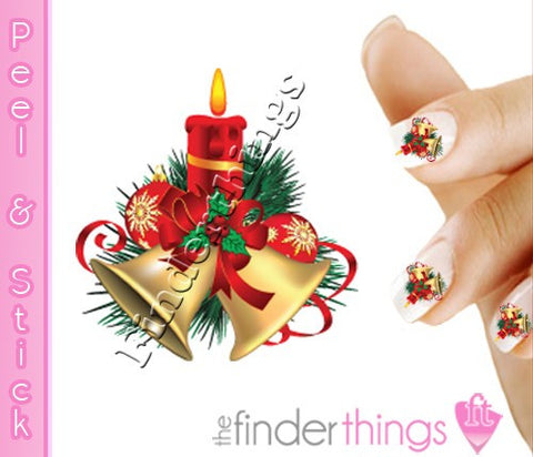 Christmas Candle and Bells Nail Art Decal Sticker Set - The FinderThings