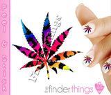 Leopard Print Rainbow Pot Leaf Weed Nail Art Decal Sticker Set - The FinderThings