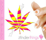 Leopard Print Yellow and Pink Pot Leaf Weed Nail Art Decal Sticker Set - The FinderThings