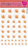 Leopard Print Yellow and Pink Pot Leaf Weed Nail Art Decal Sticker Set