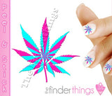 Pink and Blue Pot Leaf Weed Nail Art Decal Sticker Set - The FinderThings