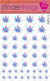 Pink and Blue Pot Leaf Weed Nail Art Decal Sticker Set