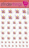 Purple and Yellow Pot Leaf Weed Nail Art Decal Sticker Set - The FinderThings