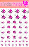 Pink and Black Tiger Stripe Pot Leaf Weed Nail Art Decal Sticker Set - The FinderThings
