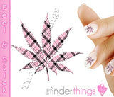 Pink and Black Plaid Pot Leaf Weed Nail Art Decal Sticker Set - The FinderThings