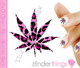 Leopard Print Pink Pot Leaf Weed Nail Art Decal Sticker Set